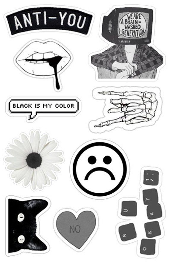 Black White Grunge Sticker Pack 10 Etsy Black Stickers Tumblr Stickers Black And White Stickers