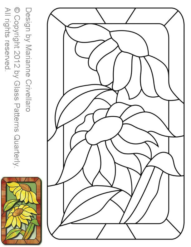 stained glass sunflower patterns   Stained Glass Patterns for FREE ★ beautiful with a blue lapis background and yellows, oranges, and reds in the sun flower and green stems.