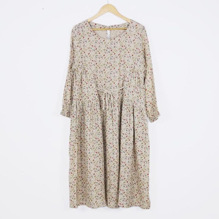 Women's Print Round Neck Cotton Linen Long Sleeves Blouse Dress