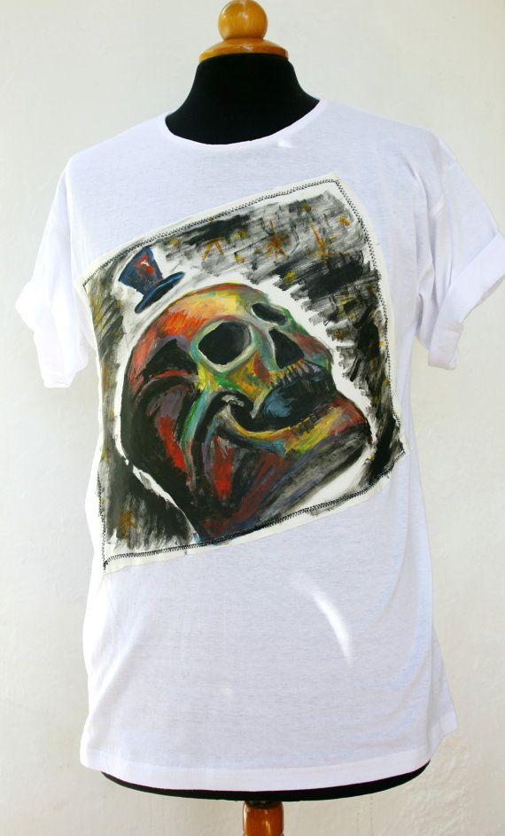 FREE SHIPPING Handmade Hand Painted Coloured Skull T-shirt