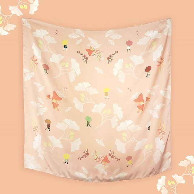 Ginkgo Momo 100 x 100 cm - Dreaming of walking beneath the falling leaves of gingko trees.. Now available in Midori (dark green) and Momo (peach) . . . #scarf #swanderfulthings #illustration #fallwinter #olshopindo #onlineshop #localbrand