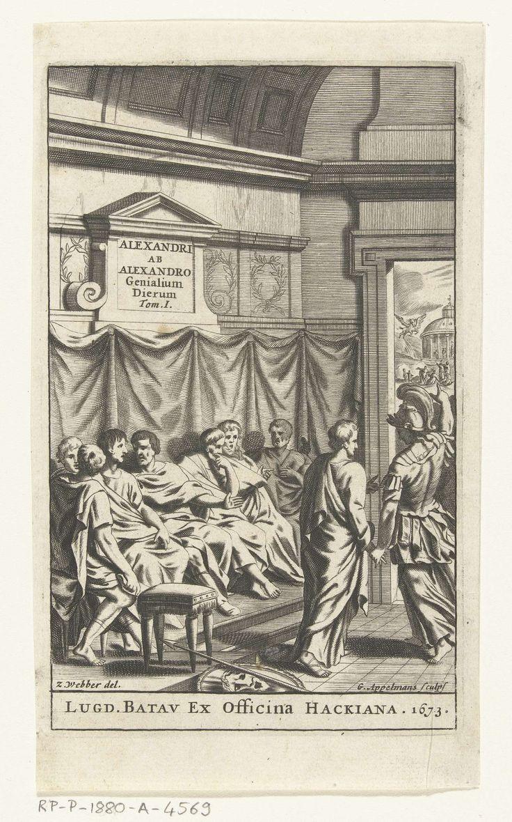 anoniem | Titelpagina voor Alexander ab Alexandro, Genialium dierum,  deel 1, 1673, attributed to Gonsales Appelmans, 1673 | Een groep mannen, gekleed in Romeinse kledij, zit op een bank en praat met elkaar. Rechts op de voorgrond wordt een andere man door een soldaat gewaarschuwd. Op de achtergrond is buiten een ronde tempel te zien, in de lucht vliegt een gevleugeld paard.