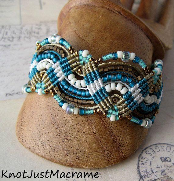 Teal and Khaki Beaded Macrame Bracelet MicroMacrame Waves. $39.99, via Etsy.