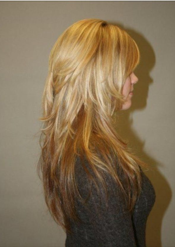 Lots of layers in back - adds body & will help to hide cowlick when worn straight
