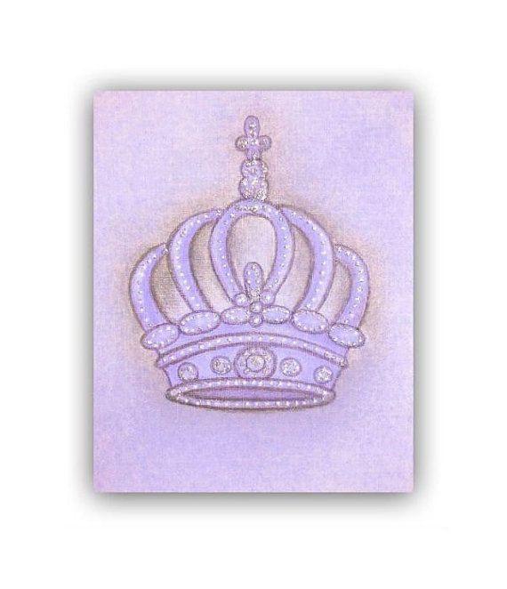 Princess Nursery Crown Art Print on Purple for Baby Girl