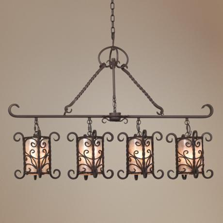natural mica collection 42 wide island chandelier - Kchenbeleuchtung Layout