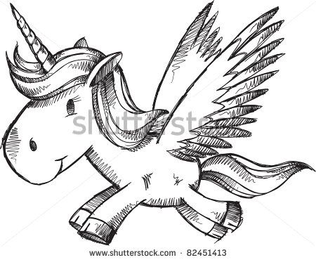 stock vector : Doodle Sketch Unicorn Pegasus Horse Pony Vector Illustration