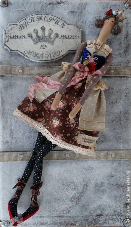 кукла тильда ручной работы Принцесска - тёмно-синий,бежевый,кукла ручной работы