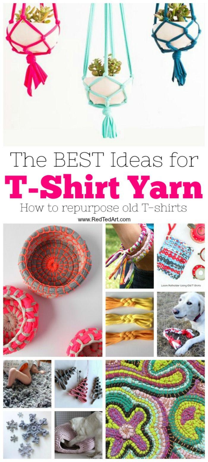 T-Shirt Yarn Ideas – Wir LIEBEN Upcycling und Repurposing T-Shirts ist ein guter Weg, um …   – Fun for kiddies