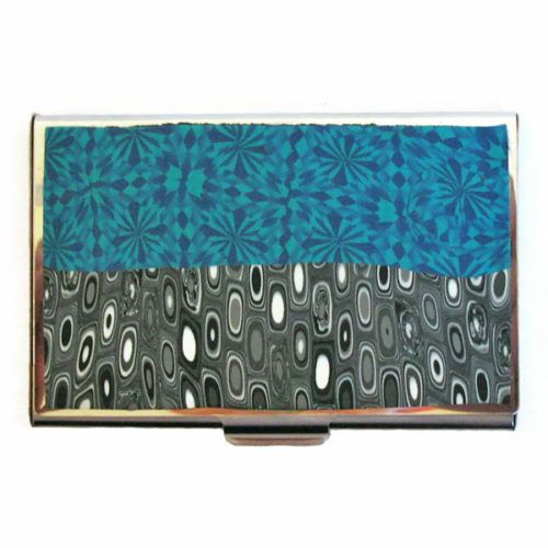 Business Card Holder in Blue, Black and White #businesscard #businesscardholder #case #polymerclay #cardcase