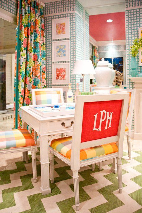 lilly pulitzer in the lee jofa showroom: Monograms Chairs, Colors Patterns, Curtains, Idea, Desks Chairs, Lilly Pulitzer, Crafts Rooms, Chairs Back, Bright Colors