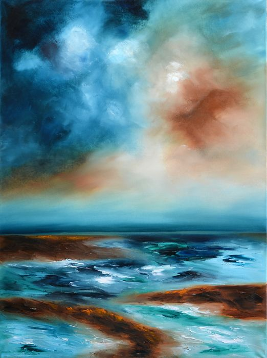 """Contemporary Abstract Ocean Painting-Storm on the horizon """"Storm on the horizon"""" is a contemporary abstract ocean painting.  Is a painting with solid balance, nice palette, and capturing aethereal movement and serenity in the same artwork.  The size of artwork is: 50 X 70 X 3 cm  The painting is 100% hand-made on high quality canvas,"""