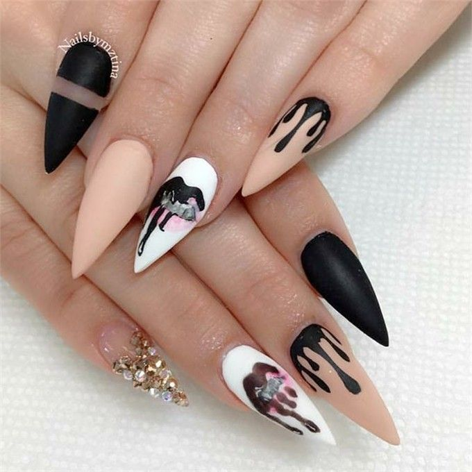 top 28 Kreative Stiletto Nail Art Designs 2018 #trendy_nail_art #stiletto_nail_a … – Nail