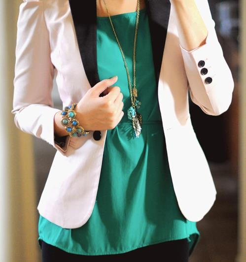 blazer over color pop satin blouse | white turquoise | casual business romantic spring