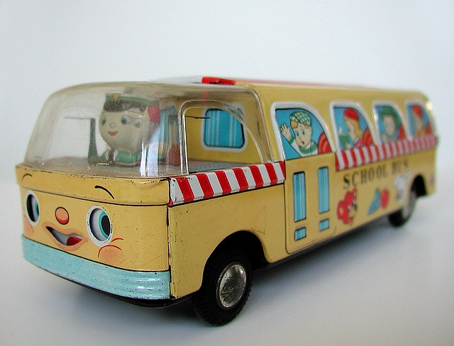 japanese ford tin litho friction toy: school bus ('60s) by j_pidgeon, via Flickr