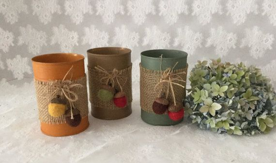 Hey, I found this really awesome Etsy listing at https://www.etsy.com/listing/243122952/set-of-three-fall-decorated-tin-cans