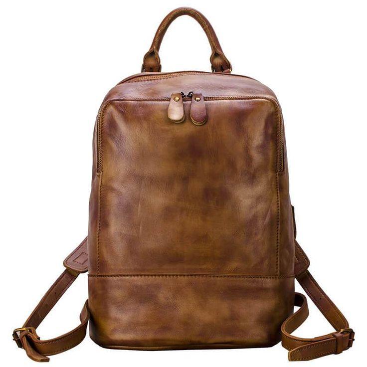 Top Grain Leather Shoulder Bag, Handmade Vintage Backpack, Knapsack YLG08
