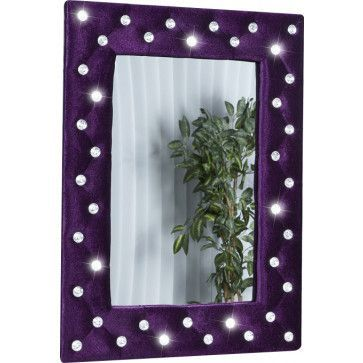 miroir mural 80 cm mauve capitonn de strass - Miroir Mural Blanc Simili Cuir Strass