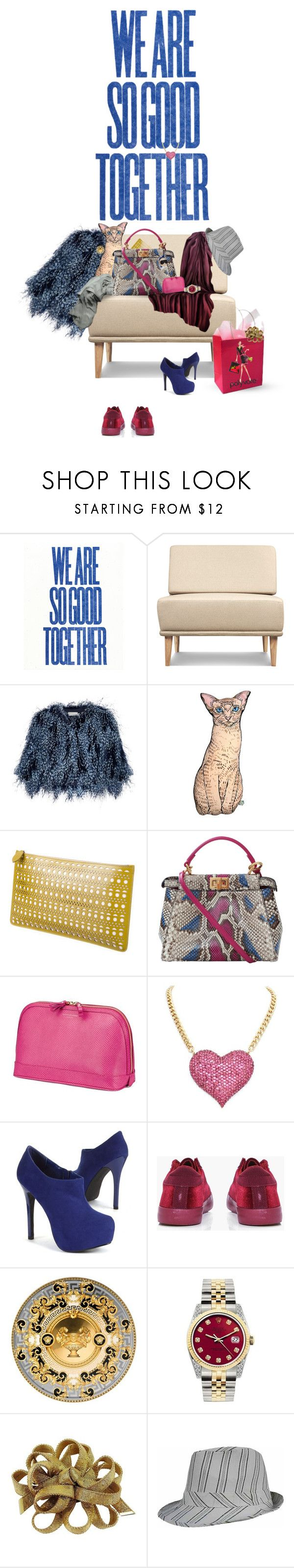 """What shall I wear today?"" by sammie-g ❤ liked on Polyvore featuring Mary Katrantzou, Silken Favours, Alaïa, Fendi, Aspinal of London, Boohoo, Versace, Rolex, Christian Dior and fendi"