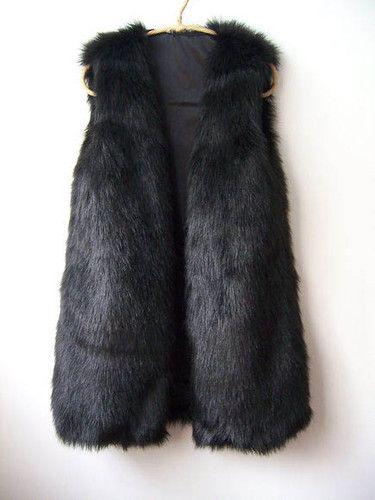 Trendy Vintage Retro Black Faux Fur Gilet Vest UK 6-16 New   eBay