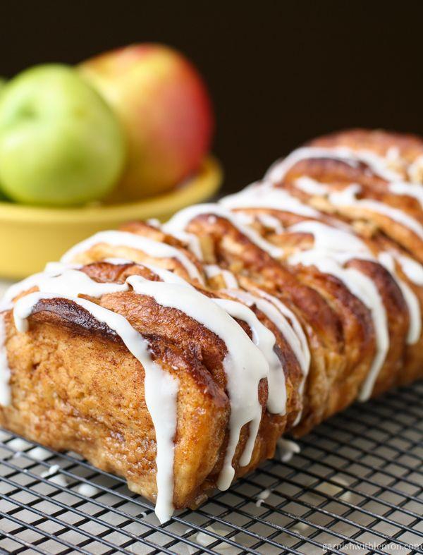 Apple Cinnamon Pull Apart Bread- Garnish with Lemon
