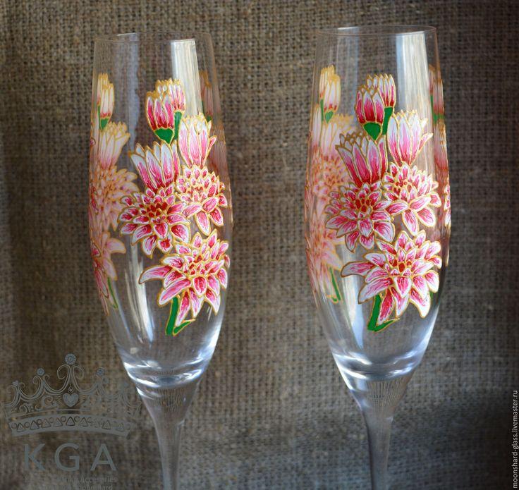 Купить Бокалы с цветами, бокалы для шампанского - розовый, Бокалы, бокалы для шампанского, бокалы с цветами, шампаское