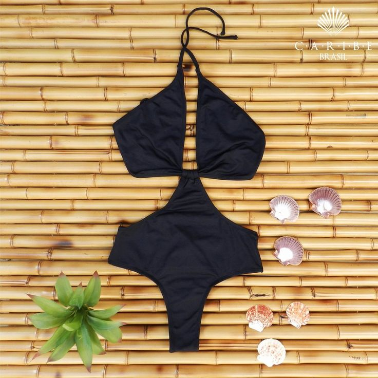 Biquíni fendas laterais - Preto - Caribe Brasil | Beachwear