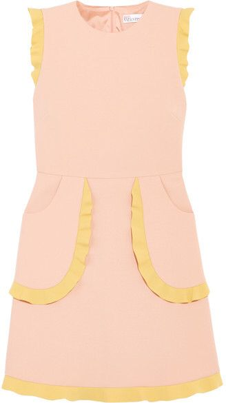 REDValentino - Two-tone Ruffle-trimmed Cady Mini Dress - Baby pink