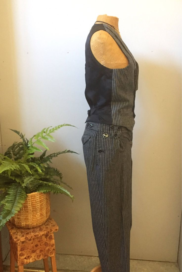 80s/Finnish/pant suit/vest/ high wasted pants/by X-it by WifinpoofVintage on Etsy