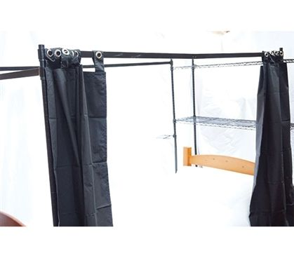 Shop at DormCo for our Over the Bed Shelf Supreme Privacy Frame. This dorm essentials item attaches to the Over the Bed Shelf Supreme and have blackout curtains added to create a dark environment for getting a quality night's sleep.