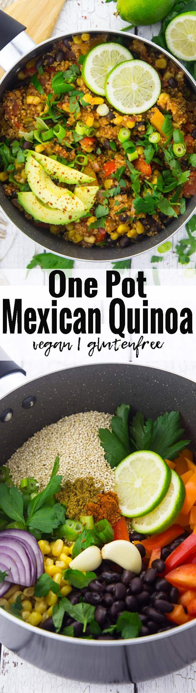 This vegan one pot Mexican quinoa with black beans and corn is one of my favorite vegan weeknight dinners! It's super easy to make, incredibly healthy, and so delicious. Plus, it's packed with protein! Serve it with fresh parsley and avocado for an extra boost of nutrients. Vegan food can be so simple and delicious!! | Find more vegan recipes at veganheaven.org <3