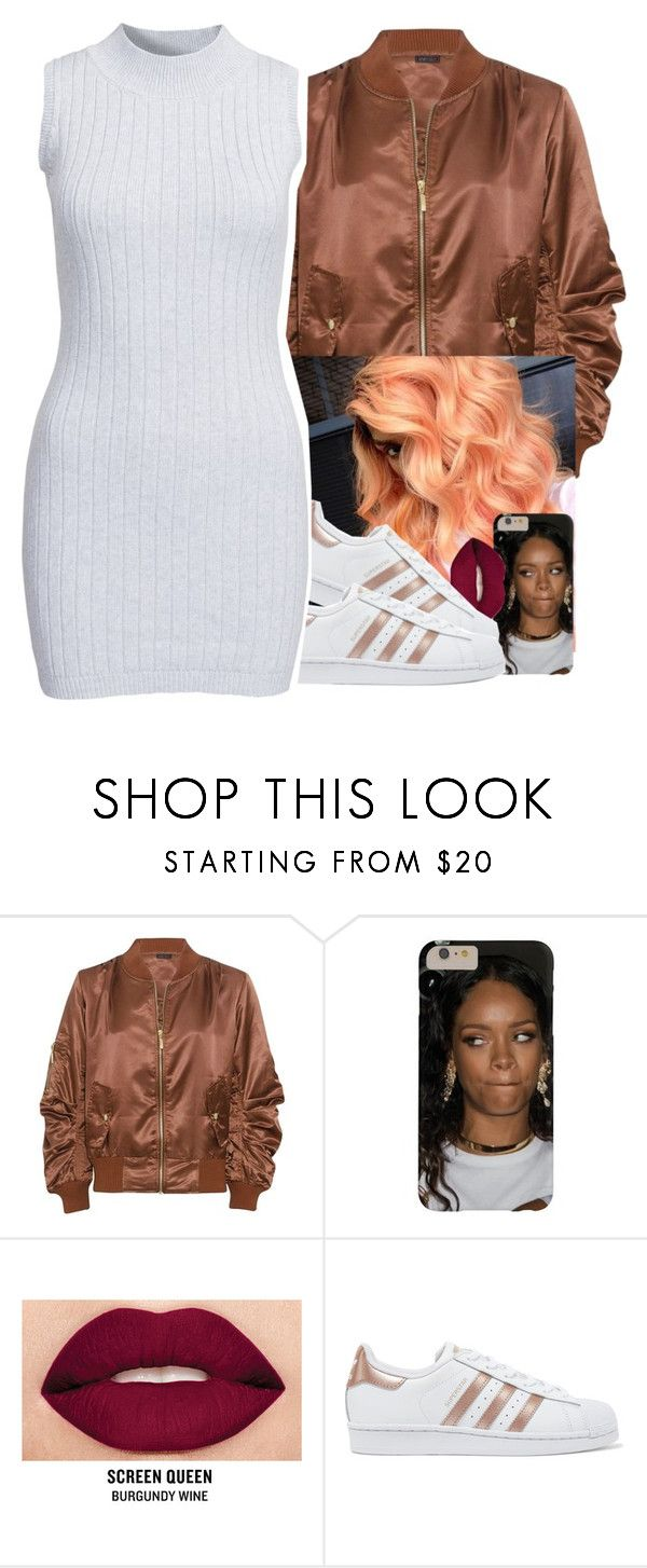 """brown bomber jacket "" by jchristina ❤ liked on Polyvore featuring Smashbox, adidas Originals and Glamorous"