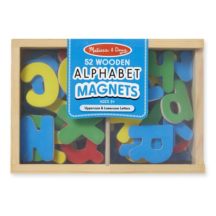 52 magnetic uppercase and lowercase letters make a colorful jumble of learning possibilities in their handy wooden case. Ideal for letter recognition, matching, and stenciling, these must-have letters