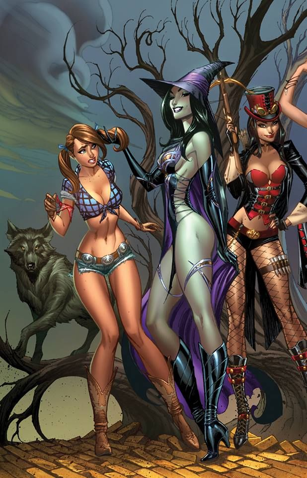 """Posted this yesterday on Twitter. First look at JSC's and Nei Ruffino's incredible (connecting to 3 others) cover for the OZ Age of Darkness one-shot in PREVIEWS for pre-order next week. #Zenescope"" #jscottcampbell #neiruffino"