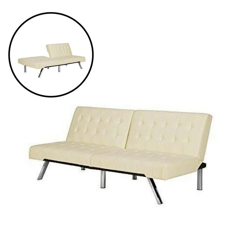 Sofa Bed Sleeping Couch White Faux Leather Chrome Legs Futon Living Room   #Unbranded #Contemporary