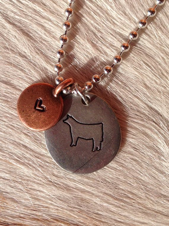 Copper and silver hand stamped show cattle necklace by kmlove1250
