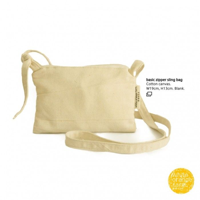 Basic Zipper Sling Bag #whiteorangefarm #mosseash #handmade #handmadebag #cotton #canvas