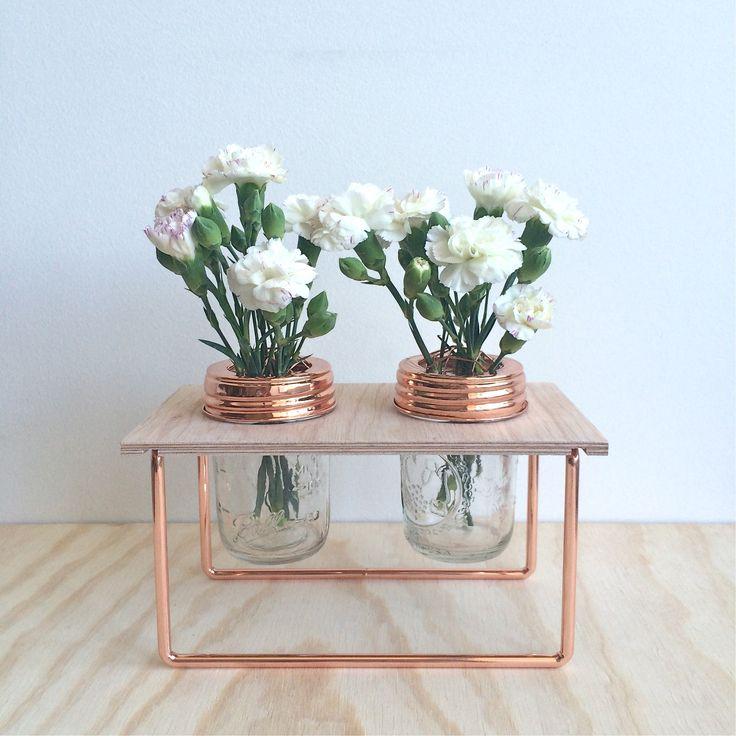 Double Copper Flower Frame with Jars - Rainy Sunday