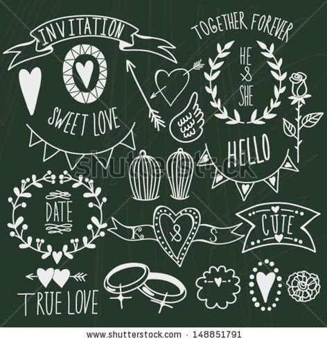 Wedding graphic set arrows, hearts, laurel, wreaths, ribbons,wings, cages, flowers, hand drawn letters and labels