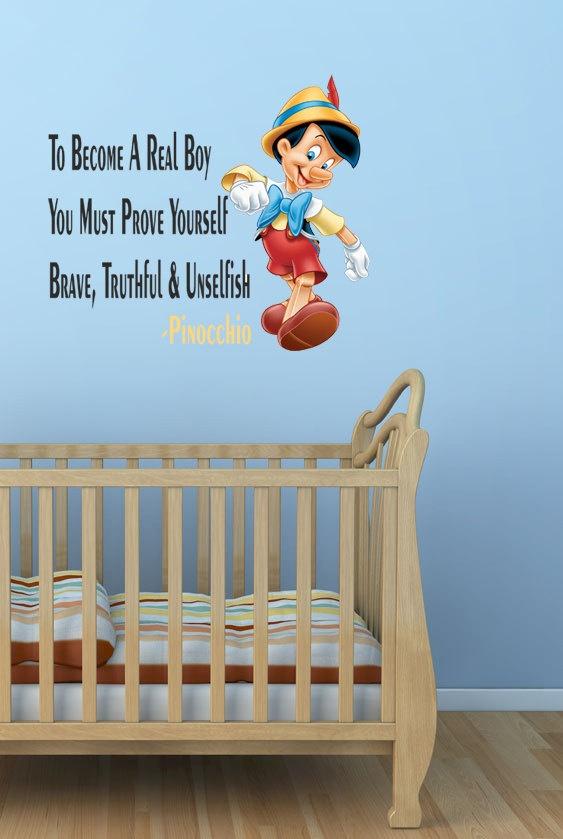 Cute Boy Themed Wallpaper Walt Disney Pinocchio Wall Quote Sticker Decal Boys Room