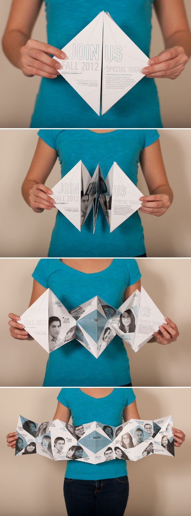 """Sin Lucros BFA Exhibition Invitation << cool fold, no die cut required! (based on """"explosion book"""" fold)"""