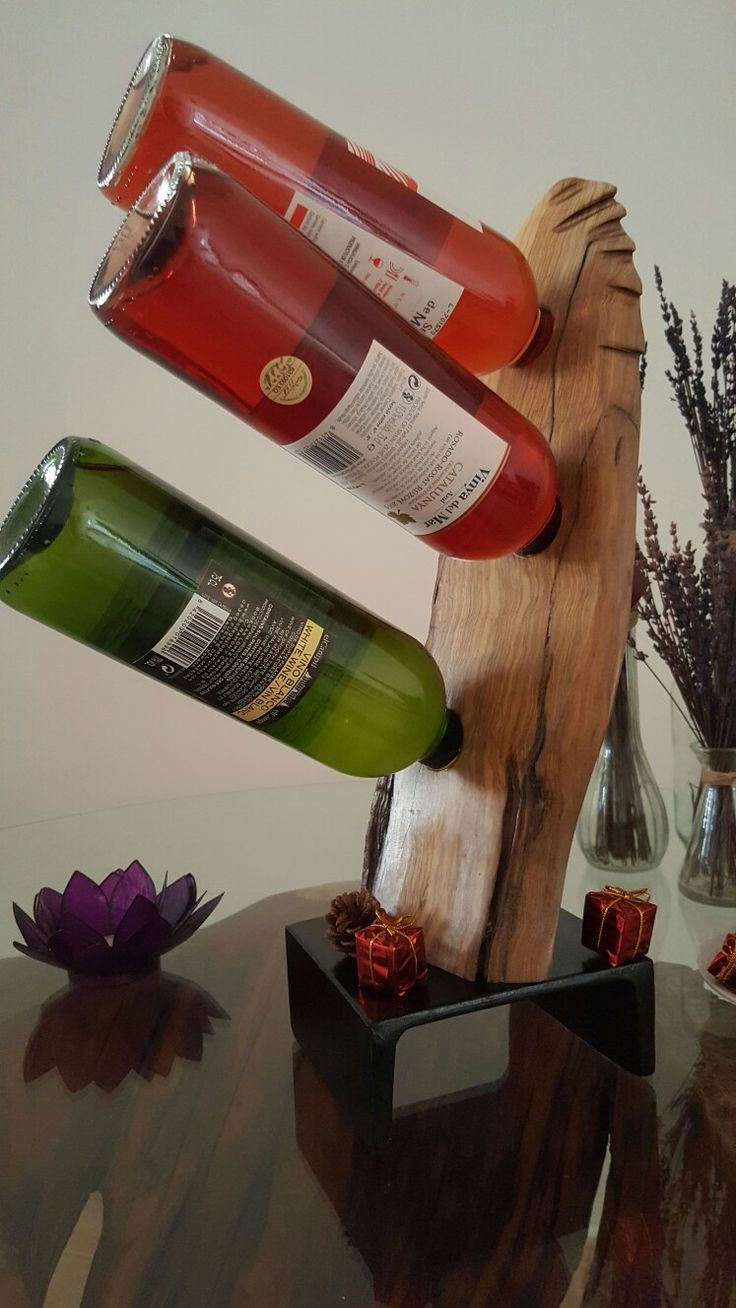 Botellero de vino madera de olivo unico exclusivo