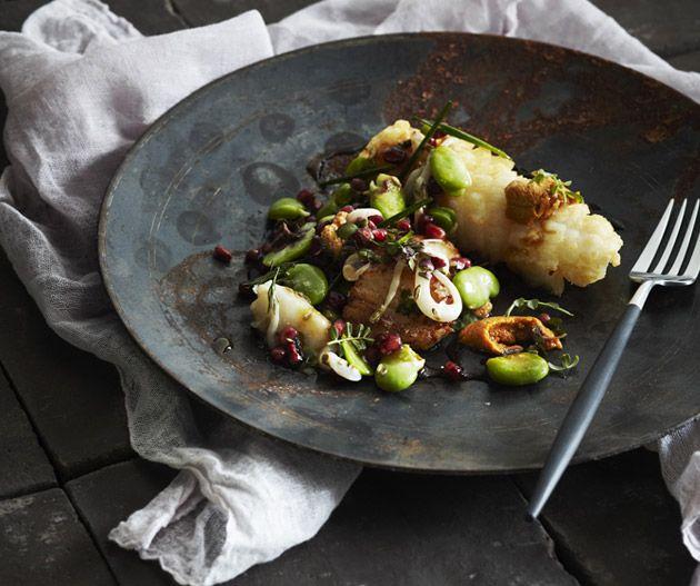 Broad bean salad with cured scallops and calamari from Shane Delia's Maha.