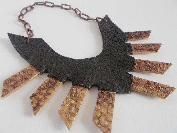 medieval statement necklace handmade pyrography by mademeathens