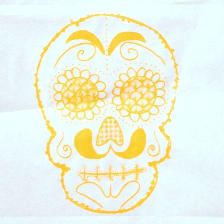 Classic sugar skull, silk screened.  Designed by Nic Mancuso