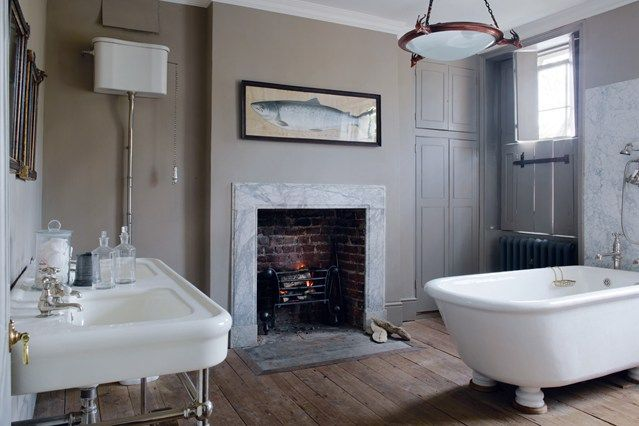 Freestanding bath by the Water Monopoly; Will Fisher's bathroom from House & Garden