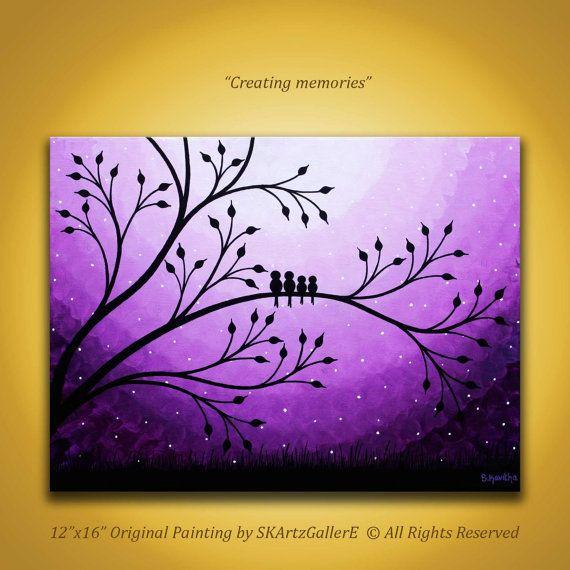 Familie Vögel Malerei, lila Leinwand Art Vögel auf Baum Malerei, lila Vögel Kunstwerk Kindergarten Wandkunst Kinder Zimmer Kunst, Malerei lila