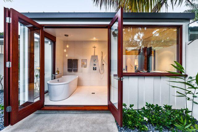 unclog bathtub drain Bathroom Midcentury with bathtub bi-fold doors board