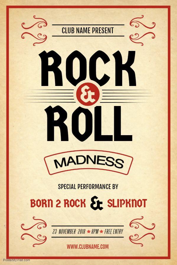 Creative Rock N Roll Concert Poster Template Music Flyer