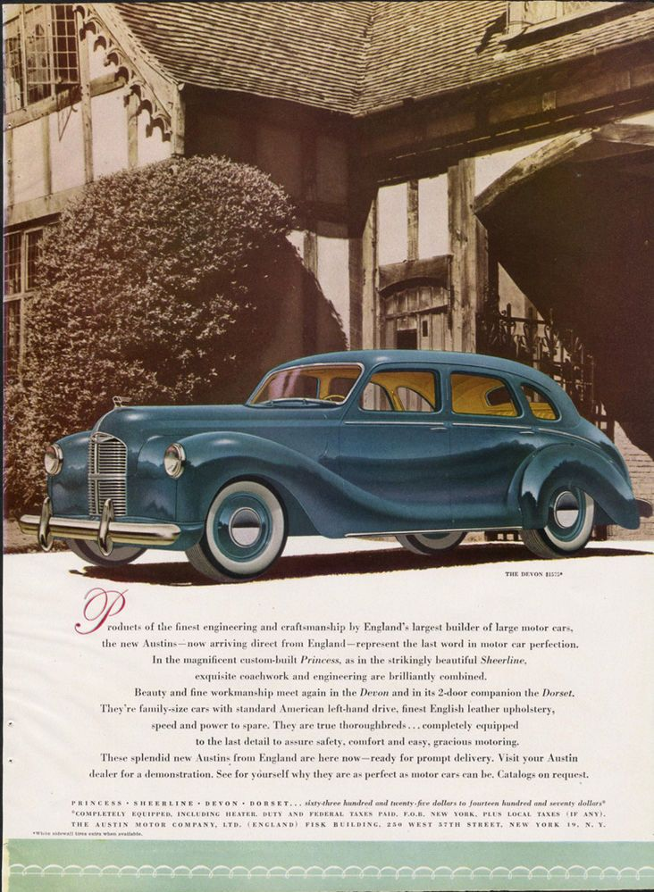 1000 images about advertising old cars on pinterest for 1948 austin devon 4 door